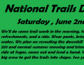 National Trails Day, Saturday, June 2nd